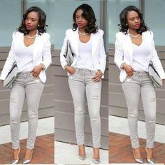 Beautiful Business Casual Attire for the Ladies Date Outfit Casual, Casual Work Outfits, Classy Outfits, Casual Wear, Formal Outfits, Work Attire, Outfit Jeans, Denim Outfits, White Pants Fashion