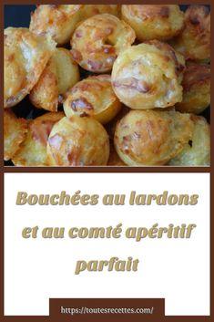 Comment préparer les Bouchées au lardons et au comté Junk Food, Entrees, Appetizers, Potatoes, Vegetables, Parfait, Desserts, Nouvel An, Genre