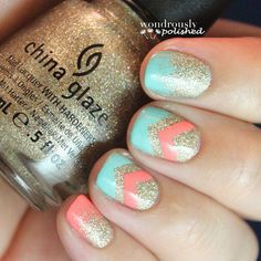 awesome blue, pink and gloden china glaze nails