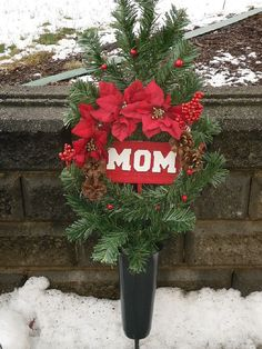Items similar to Christmas Cemetery Silk Flowers, Gravesite Flowers, MOM Memorial Flowers, Holiday Memorial Flowers, Red Poinsettias on Etsy Grave Flowers, Cemetery Flowers, Funeral Flowers, Silk Flowers, Anker Tattoo, Christmas Flowers, Christmas Wreaths, Christmas Items, Grapevine Christmas
