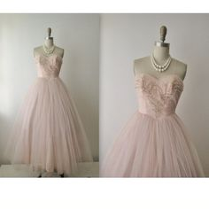 You two may love these dresses! 50's Beaded Tulle Dress // Vintage 1950's Strapless Pale Pink Tulle Wedding Prom Dress Gown XS