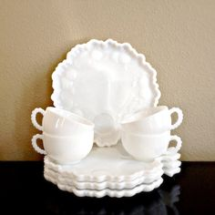 Milk Glass Snack Sets Vintage Orchard Crystal Leaf Textured Milk by MidwestMilkGlass