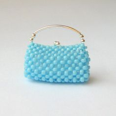 Blue & Silver Miniature Beaded Clutch by MaeMaeDollsAndMinis, $18.00