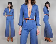 DENIM vtg 70's Bell bottom JUMPSUIT jean pantsuit Pocket Zipper tight Flared leg hippie
