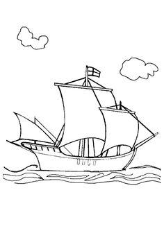 Dessin à colorier d'un bateau errant sur l'océan