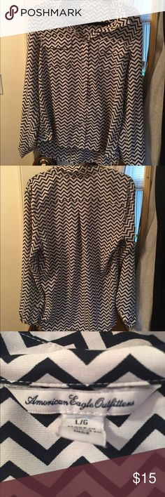 Zig zag button down Great to wear with just some pants and a skirt and you're good to go! American Eagle Outfitters Tops Blouses