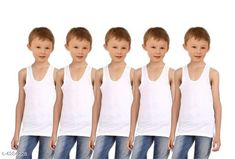 Innerwear Doodle Classy Cotton Kid's Boy's Vests (Pack Of 5)  Fabric: Cotton Sleeves: Sleeves Are Not Included Size: Age Group (12 Months - 18 Months) - 16 in Age Group (18 Months - 24 Months) - 18 in Age Group (2 - 3 Years) - 20 in Age Group (3 - 4 Years) - 22 in Age Group (4 - 5 Years) - 23 in Color: White Type: Stitched Description: It Has 5 Pieces Of Kid's Boy's Vests Pattern: Solid Country of Origin: India Sizes Available: 2-3 Years, 3-4 Years, 4-5 Years, 0-6 Months, 3-6 Months, 6-9 Months, 6-12 Months, 9-12 Months, 12-18 Months, 18-24 Months, 0-1 Years, 1-2 Years   Catalog Rating: ★4 (218)  Catalog Name: Doodle Classy Cotton Kid's Boy's Vests Combo Vol 1 CatalogID_613809 C59-SC1187 Code: 802-4284228-624