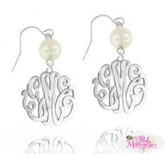 Monogrammed Interlocking script earrings with pearl on a french wire