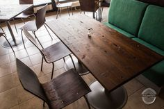 Recycled Furniture for Hotel Modern Recycled wooden furniture for Hotel. These wooden table lids are made from old wall panels. Recycled Furniture, Wooden Furniture, Old Wall, Rustic Interiors, Wooden Tables, Recycling, Dining Table, Woodworking, Restaurant