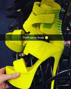 ‼️ Spotted ‼️ / #thriftstorefinds / looks like @ladygaga donated some of her pumps to @salvationarmyus - only $3.99 y'all  #iwoulddie #themheelstho #neon #forealz #thrifting #thrifted #snapchatstory