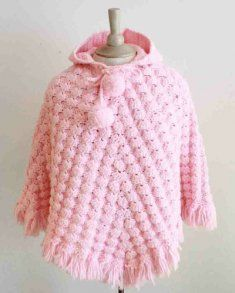 """#145 http://www.maggiescrochet.com/puff-shell-poncho-crochet-pattern-p-419.html#.UQGw5idX3is Puff Shell Poncho Crochet Pattern- Puff Shell Poncho Crochet Pattern includes instructions for 18"""" Doll Poncho and Children's sizes 2, 4, 6, 8, and 10 Ponchos. Skill Level: Intermediate."""