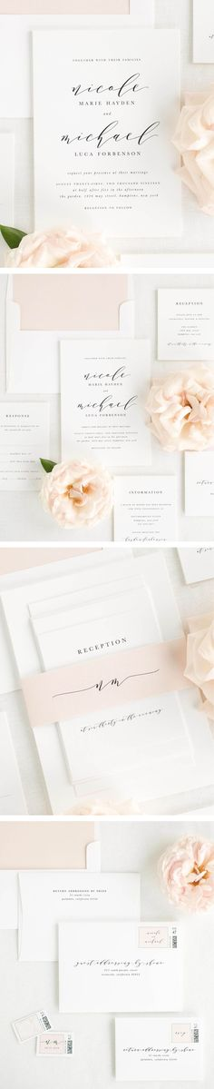 A gorgeous script font is paired with a classic serif in these timeless wedding invitations. Shown in black ink with a solid envelope liner and belly band in whipped peach.