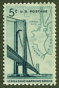 bridges stamps - Buscar con Google [New York: Brooklyn/Staten Island Verrazano Narrows Bridge.