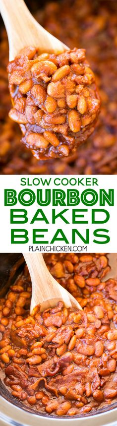 Slow Cooker Bourbon Baked Beans seriously delicious We love these easy baked beans Great for potlucks and cookouts Just dump everything in the slow cooker and let it wor. Crock Pot Slow Cooker, Crock Pot Cooking, Slow Cooker Recipes, Crockpot Recipes, Cooking Recipes, Baked Beans Slow Cooker, Crock Pot Baked Beans, Crockpot Dishes, Easy Baked Beans