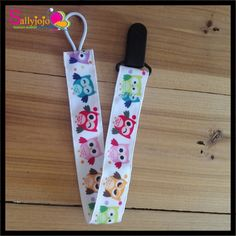 3pcs/lot Cartoon Animal Owl Prints Ribbon Colorful Pacifier Clip Holder With Plastic Clip Funny Nipple Baby Toy Pacifier Holder