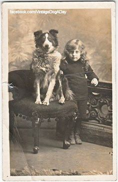I love this vintage pic of Girl and a Adorable Dog. Even the Border Collie looks vintage, Vintage Dog, Looks Vintage, Vintage Children, Animals And Pets, Cute Animals, English Shepherd, Collie Dog, Rough Collie, Dogs And Kids