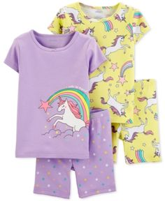 Pamper your little one with the carter's Unicorn Pajama Top and Short Set for an assortment of stylish bedtime ensembles. Crafted with cozy cotton, this set features 2 pajama tops and 2 shorts in enchanting unicorn designs. Girls Sleepwear, Girls Pajamas, Girls 4, Little Girls, Baby Girls, Toddler Girls, Baby Boy, Toddler Outfits, Kids Outfits