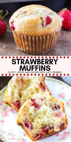 Breakfast Recipes These soft, buttery strawberry muffins have perfectly golden tops and are bursting with strawberries. They can be made with fresh or frozen strawberries and are perfect for breakfast or brunch. Strawberry Muffin Recipes, Strawberry Breakfast, Recipes With Frozen Strawberries, Strawberry Banana Muffins, Fresh Strawberry Desserts, Strawberry Ideas, Strawberry Milk, Strawberry Blonde, Strawberry Shortcake