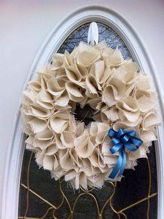 Winter Burlap Wreath for Front Door on Etsy, $50.00