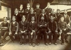 LBSCR and LSWR station staff at Havant Station, circa 1890-99.