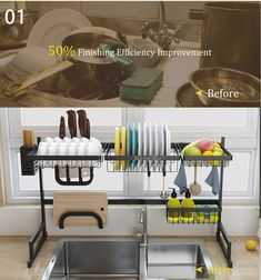 Multi-Function Dish Drying Rack Over Sink Display Stand Stainless - Xoann's Gifts