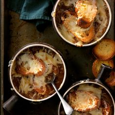 Classic French Onion Soup Recipe -Enjoy my signature French onion soup the way my granddaughter Becky does. I make it for her in a crock bowl complete with garlic croutons and gobs of melted Swiss cheese on top. —Lou Sansevero, Ferron, Utah
