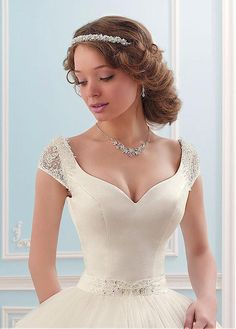 Buy discount Alluring Tulle V-neck Neckline Ball Gown Wedding Dress With Beadings And Rhinestones at Dressilyme.com