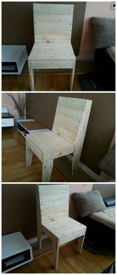 My first project with Pallets: A chair #Chairs, #Pallets, #Recycled