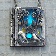 Cat and Vine-miniature book necklace with a readable story inside!