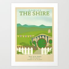 Retro Travel Poster Series - The Lord of the Rings - The Shire Art Print by Teacuppiranha - $18.00