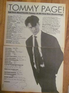 Tommy Page, Two Page Vintage Clipping