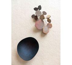 Kaori Juzu (Japan/Denmark) Left: 'Mare Nostrum', 2012-13, brooch, enamel, copper, 14k gold, silver, 60x52x15mm / Right: 'Mare Mea', 2012-13, brooch, enamel, copper, 14k gold, silver, 123x72x31mm Lovely texture and colors!
