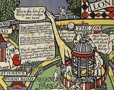 There's a giraffe in London Zoo, who is depressed despite being offered a bun. | 9 Wonderful Details From A Hundred-Year-Old Map Of The London Underground