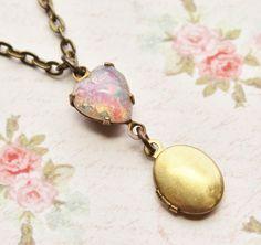 Vintage Fire Opal Locket Necklace, Vintage Heart Glass Opal, Brass Locket, Keepsake, Harlequin Opal, Birsthone, Pink Opal