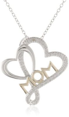 """Sterling Silver Diamond Accent Heart """"Mom"""" Pendant Necklace, 18"""" Amazon Curated Collection,http://www.amazon.com/dp/B004UQN7PK/ref=cm_sw_r_pi_dp_XUkDsb048TQ8JS0Z"""