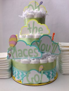 Oh The Places You'll Go Diaper Cake, Baby Shower Centerpiece, Decorations, Dr. Seuss Baby Shower, Gender Neutral Baby Shower, Hello World by MrsHeckelDiaperCakes on Etsy https://www.etsy.com/listing/104653818/oh-the-places-youll-go-diaper-cake-baby