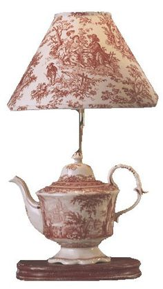 This Red Toile/Transferware Teapot Lamp - I love this! I purchased one and it is truly worth the money. On Etsy Toile Design, Teapot Lamp, Teapots And Cups, Teacups, Rose Cottage, Lampshades, Decoration, Home Interior Design, Tea Pots