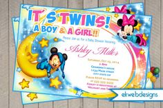 Mickey And Minnie Twins Baby Shower Invitations