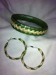 hand-woven Lauhala bracelet and matching earring set by KalaniGifts1 on Etsy