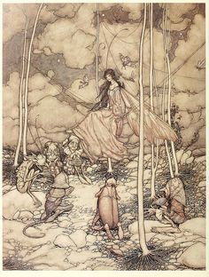 "Arthur Rackham ""Arthur Rackham is widely regarded as one of the leading illustrators from the 'Golden Age' of British book illustration which encompassed the years from 1900 until the start of the. Arthur Rackham, Art And Illustration, Book Illustrations, Psychedelic Art, Harry Clarke, Edmund Dulac, William Blake, Fairytale Art, Art Graphique"