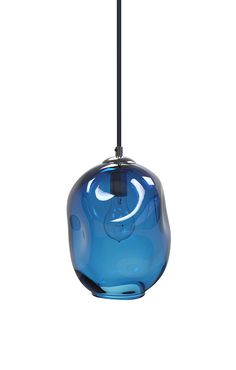 LIGHTING - Cerulean Blue River Rock Hand Blown Glass by providenceartglass.  Of course, blown glass pendants over the island.  Love.