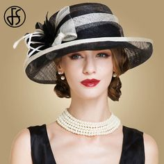 e4f51c7c US $36.39 35% OFF|FS Black And White Ladies Church Sinamay Hats For Women  Linen Fedora Wedding Fascinators Wide Brim Bow Floral Kentucky Derby Hat-in  ...