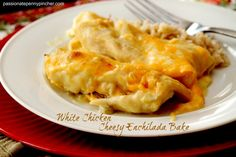 White Chicken Cheesy Enchilada Bake--might need to simplify it for camping, idk. could use rotisserie chicken too. White Chicken, Cream Of Chicken Soup, Mexican Dishes, Mexican Food Recipes, Turkey Recipes, Chicken Recipes, Cheesy Enchiladas, Chicken Enchiladas, Taco Bell