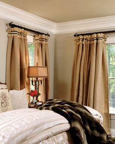 Burlap drapes are done beautifully to add more texture to this room. Curtains With Blinds, Panel Curtains, Valances, Neutral Curtains, Classic Curtains, Window Coverings, Window Treatments, Burlap Drapes, Window Styles