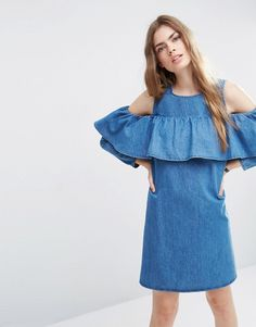 c78b167bc81a Image 1 of ASOS Denim Shift Dress with Cold Shoulder and Ruffle Detail Day  Dresses