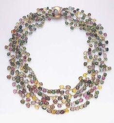 Three-strand Multi-color Tourmaline and Diamond Necklace, Paolo Costagli