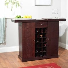 Update your home decor with a elegant wine storage cabinet in espresso that is designed for convenience. The top slides out to make the perfect bar. Wine Storage Cabinets, Wood Storage, Storage Area, Bar Cabinets, Wine Racks, Office Girl, Espresso, Home Bar Cabinet, Ikea