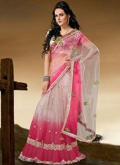 Pretty pink net saree,,,. Sareeka.com