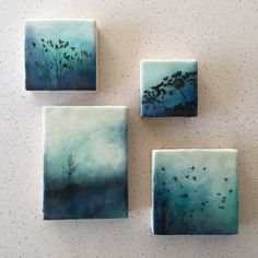 """Of flora and fauna"" series and (the tree) ""Blue solitude"" Encaustic artwork by Alanna Sparanese"