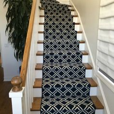 Nourison Sparta is a geometric carved trellis pattern made of wool. Several colors are offered.  This product can be used for installed wall to wall carpet, stair runners (shown) or area rugs in any size.  The images shown here are of an installation of a stair runner for a client on Balboa Island in Newport Beach, CA .  Purchase at Hemphill's Rugs & Carpets Costa Mesa, CA